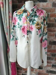 JOULES 100% COTTON WHITE PINK FLORAL SEMI FITTED BLOUSE SHIRT SIZE 14