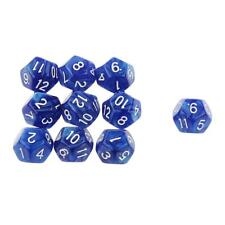 Set/10pcs Blue Twelve Sided Dungeons & Dragons RPG Roleplay Game D12 Dice