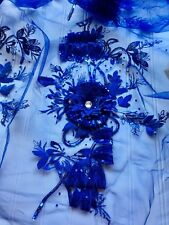 Sequins 3D Flower Embroidered Appliques/ Royal Blue Tulle/Sewing/Bridal/Crafts