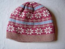 Dents Snowflake beanie double thickness pinks & blue Wool & acrylic