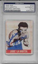 PSA/DNA signed 1948 Leaf #102 Jake LaMotta Raging Bull Inscription