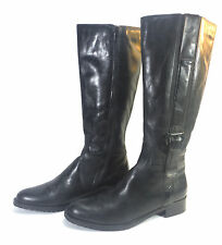 wonderful CLARKS black leather vertical buckle equestrian riding campus boots 10