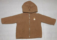 Carters Jacket Brown Fuzzy Teddy Bear Lined Hooded Fleece Baby Infant 6 Months