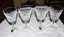 "Signed Waterford Crystal Lismore - set of 4 claret wine goblets 5 7/8"""