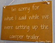 Setting Up The Camper Trailer Sign - Camping 4WD Wooden RV Caravan Country Sign