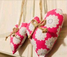 """Pair Of Heart Doorknob Hangers Clarke & Clarke floral pink 4"""" x 4"""""""