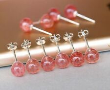 6mm 925 Sterling Silver Round Strawberry Quartz Stud Earrings Gift Box K32