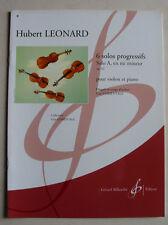 """Partition violon,6 solos progressifs, """"Solo A en mi min. opus 62"""" Hubert Leonard"""