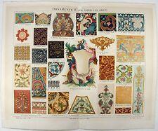 Ornamentation 17th & 18th Century - Original 1888 Chromolithograph by Meyers