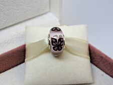 New w/BOX RARE Pandora Pink Butterfly Kisses Murano Glass Bead Charm 791621