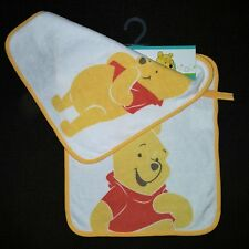 DISNEY BABY  lot de 2 grands bavoirs 28 x 32 cm bébé WINNIE éponge blanc jaune
