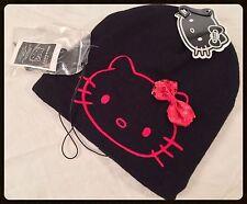 Hello Kitty Slouchy Beanie Hat Built In Headphones Black Sanrio Music Speakers