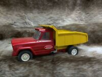 vintage 1960s steel tonka dump truck red and yellow