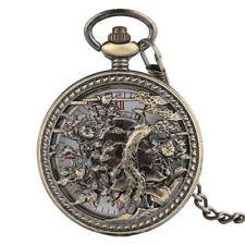 Vintage Automatic Mechanical Pocket Watch Hollow Women Copper Phoenix Chain