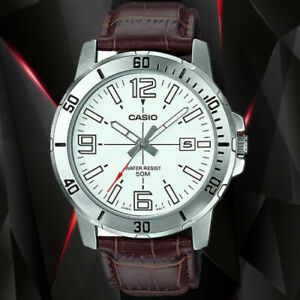 Casio MTP-VD01L-7B Mens Black Analog Watch Brown Leather Band Date Indicator New