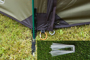 Tent Camping Pegs Heavy Duty Hardened Galvanised Steel Metal Peg Football Net