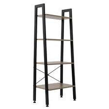4 Tier Metal Leaning Ladder Shelf Bookcase Bookshelf Storage Shelves Home Office