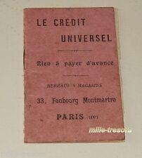 Ancien CARNET publicitaire LE CREDIT UNIVERSEL Faubourg Montmartre - PARIS