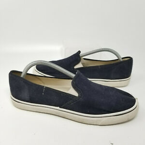 Made In USA Navy Blue Canvas Slip On Low Walking Shoes Sneaker Men Size 10
