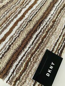 "NEW DKNY Bathroom Rug Mat Brown Beige Stripes 17"" x 25"" or 20"" x 33"" Cotton"