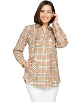 Joan Rivers Womens Plus Plaid Shirt with Back Button Detail 3X Cocoa A293343