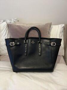 Aspinal Of London Tote Hand Bag Black Gold Leather Large Designer