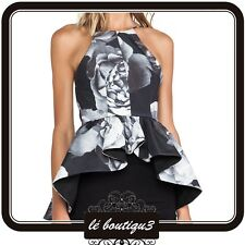 CAMEO Alone Tonight Floral Black Top RRP $180.00 Size Small ( T 10)