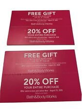 Set Of 2 Bath And Body Works 20% Off Total Purchse Plus Free Gift Exp 8/23/20