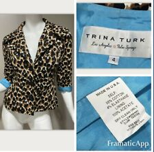 TRINA TURK Leopard Print Turquoise Jacket Blazer Sz 4 Crop Cotton Stretch Lined