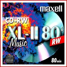 MAXELL CD-RW XLII AUDIO MUSIC 700MB 52x SPEED 80MIN REWRITABLE XL-II CDs PACK 10