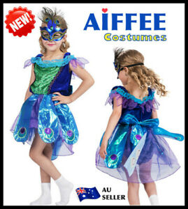 Peacock Girls Costume Child Animal Bird Halloween Book Week Party Outfit Mask