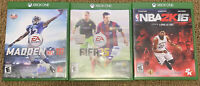 Lot Of 3 Games Madden NFL 16,FIFA 15 & NBA2K 16 Microsoft Xbox One)