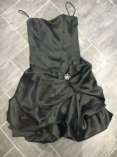 THE VESTRY BLACK SIZE 8 SATIN LOOK CORSET STRAPLESS DRESS GATHERED UP GEM DETAIL