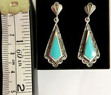 Sterling Silver Turquoise Marcasite 1920s Art Deco style Dangle Drop Earrings