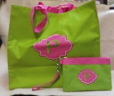 """""""P"""" Monogram Polyester Canvas Tote & Wrist Coin Purse Lined Green & Pink 170661"""