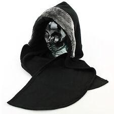 Ladies Hood Hat Scarf BLACK SILVER Faux Furry Trim Warm Fleece Winter