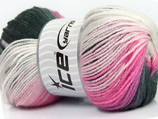 Lot of 4 x 100gr Skeins Ice Yarns MAGIC DK Yarn Black Pink Shades White