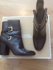 Michael Kors Kendal Brown Leather Buckle Ankle Boots Uk Sz 6 39 Rrp £240