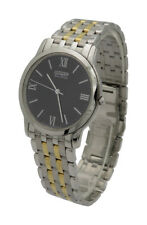 Citizen Eco Drive AR1124-59E Mens Stiletto Two Tone Stainless Steel Thin Watch