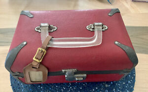 Vintage ~ Red Train Travel Case/Suitcase Luggage - Great Project Piece