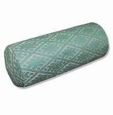 HC702g Turquoise Blue Beige Checker Jacquard Cotton Bolster Cover Yoga Case Size