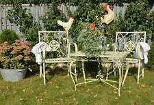 Table De Jardin Ajoure Metal Fer Forge Style Ancien Shabby Chic Patine Blanc