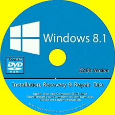 WINDOWS 8.1 INSTALL REINSTALL REPAIR RESTORE RECOVERY DVD BASIC & PRO 32 Bit NEW