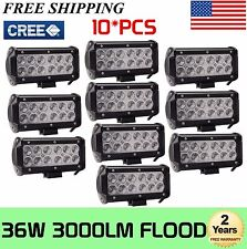 """10X 7"""" inch 36W CREE LED Work Light Bar Flood Beam Driving Truck For Jeep Ford"""