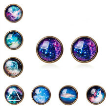 Women Copper Metal Gorgeous Star Earring Blue Sky Galaxy Stone Ear Stud Jewelry