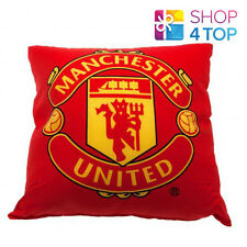 MANCHESTER UNITED FC RED CUSHION PILLOW SQUARE OFFICIAL FOOTBALL SOCCER CLUB NEW
