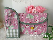 SALE!! 2pc SET ALICE IN WONDERLAND Pink Quilted Makeup Bag & Eyeglass Case NEW!