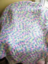 CROCHET baby blanket afghan wrap knit handmade rainbow print variegated ripple