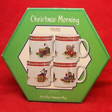 Sakura CHRISTMAS MORNING 4 Mugs w/ Box Pony Teddy Bear Kitten Jack in the Box