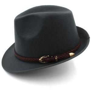 Fashion Men Solid Fedora Hats Trilby Caps Jazz Felt Sunhat Sunbonnet Formal Hats